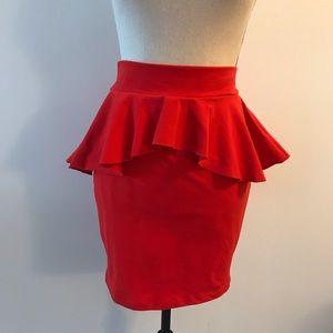 bebe Skirts - Bebe Red Peplum Skirt